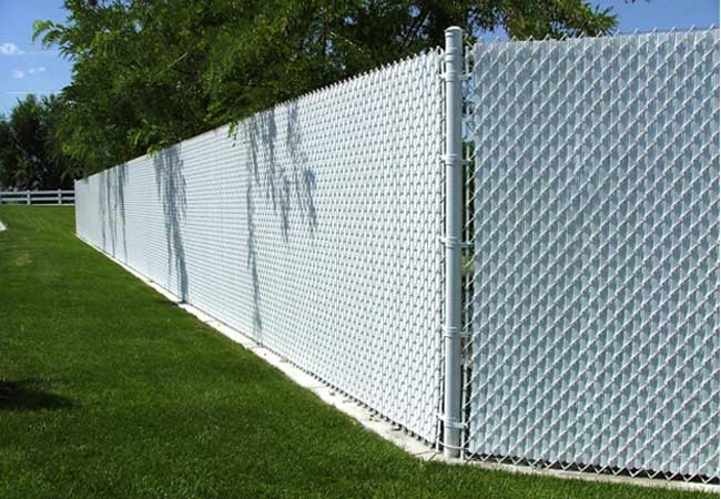 white slats for chain link fencing