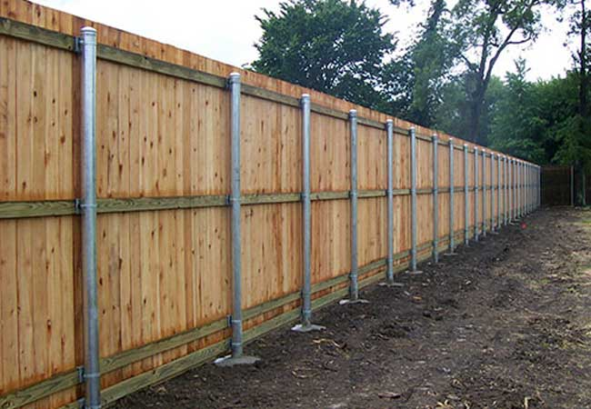 wood with metal post privacy fencing